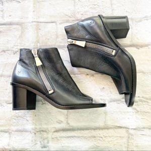 Frye Brielle leather black peep toe booties 7
